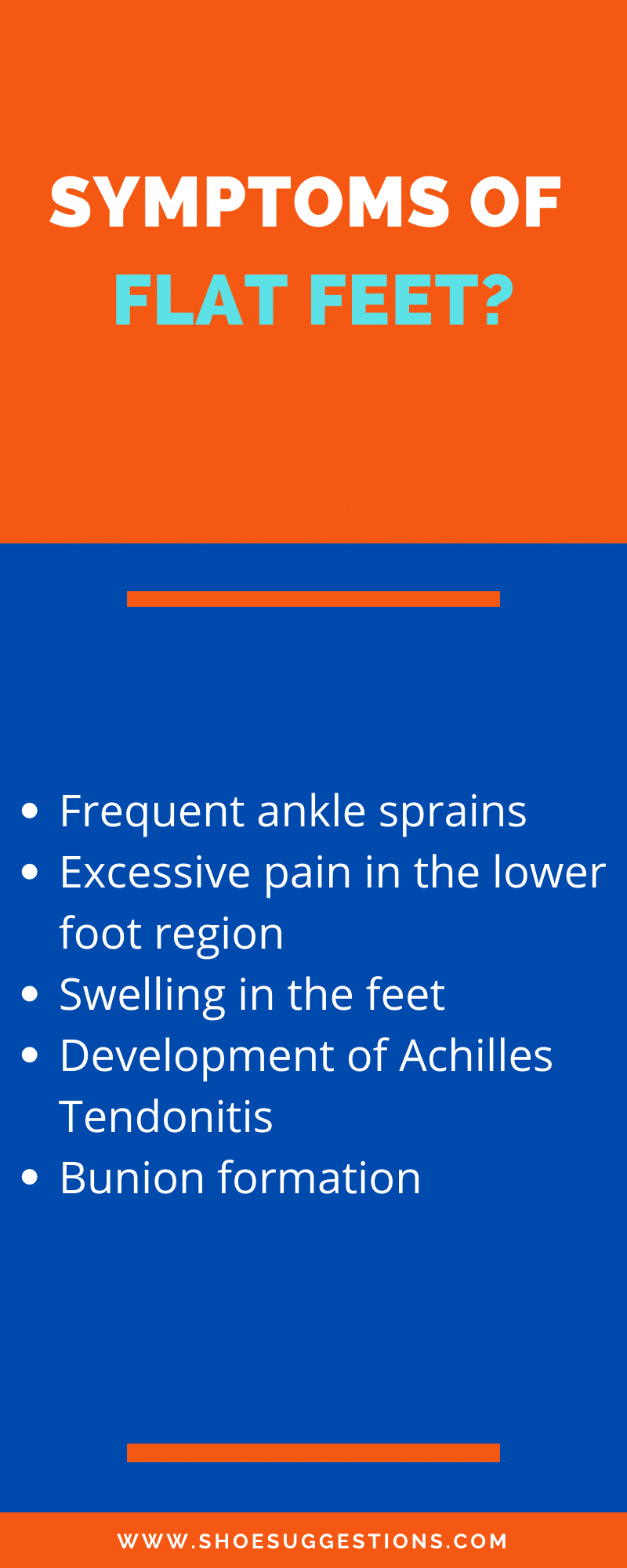 Symptoms of flat feet